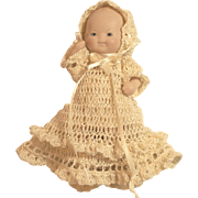"Doll Christening Dress, Bonnet, Knickers, Booties Set for 5"" - 6"" All Bisque Baby Doll"