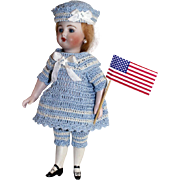 "Nautical Sailor Dress Set for 6.5""-8"" Doll Bisque Miniature Mignonette Kish Riley Hand Crochet 5pc"