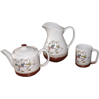 Vintage Otagiri Japan Brownware Duck Pottery Tea Pot Coffee Cup Mug Pitcher 3-Piece Set