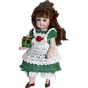 "Doll Dress, Pinafore & Bloomers Christmas Holiday Set for Miniature All Bisque 6.5"" - 7.5"" Mignonette / Riley Doll"