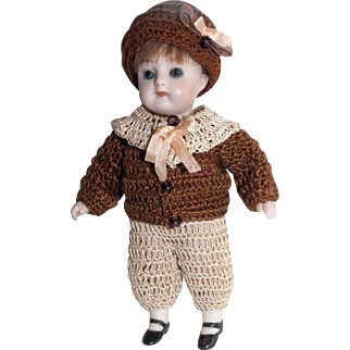 "Hand Crochet Doll Jacket, Collar, Hat & Rompers Pants Set For 5"" Miniature All Bisque Boy Cabinet Doll"