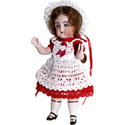 "Doll Dress, Pinafore, Hat & Pants Christmas Holiday Set for Miniature All Bisque 5.5"" - 6.5"" Mignonette Doll"