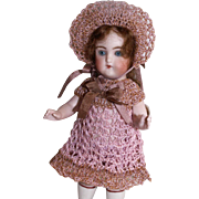 "Dress, Pants & Bonnet Set for 5.5""-6"" Doll All Bisque Miniature Mignonette in Hand Crochet"