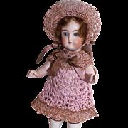 """Dress, Pants & Bonnet Set for 5.5""""-6"""" Doll All Bisque Miniature Mignonette in Hand Crochet"""