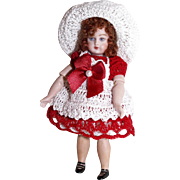 Doll Dress, Pinafore, Hat & Pants Christmas or Valentine Set for Miniature Bisque Doll 3.5-4.5""
