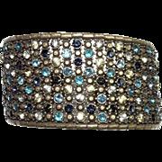 Vintage Jewelry Bronze Cuff BRACELET Crystal Blue & Clear Rhinestones
