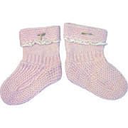 1950s Vintage BABY BOOTIES Hand Knit Pastel Pink Yarns Infant Shoes Reborn Doll Shoes