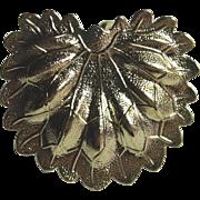 Vintage Scarf Dress Clip LEAF / FEATHER Design Gold Tone