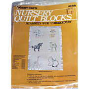 Nursery Quilt Blocks Stamped Fabric for Embroidery Vogart Crafts #8931A 12 Blocks