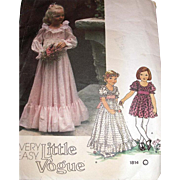 Vintage Sewing Pattern Little Vogue 1814 Girl's Sz 6 Wedding Bridal Party Very Easy Dress