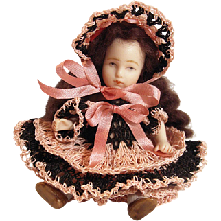 "Doll Dress, Pants & Bonnet Set for 3-3.5"" Doll Bisque Miniature Mignonette"