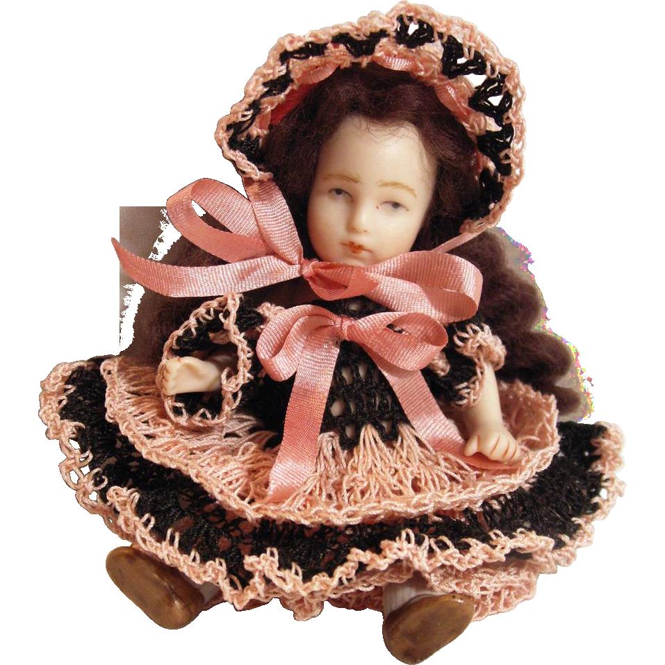 """Doll Dress, Pants & Bonnet Set for 3-3.5"""" Doll Bisque Miniature Mignonette"""