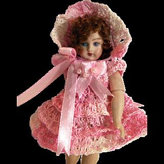 """Hand Crochet Doll Dress, Bonnet & Pants Set for 4"""" Miniature Bisque Mignonette Doll"""