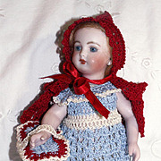 "Hand Crochet Doll Dress, Cape, Pants & Basket Red Riding Hood Set for 7-8"" Doll"