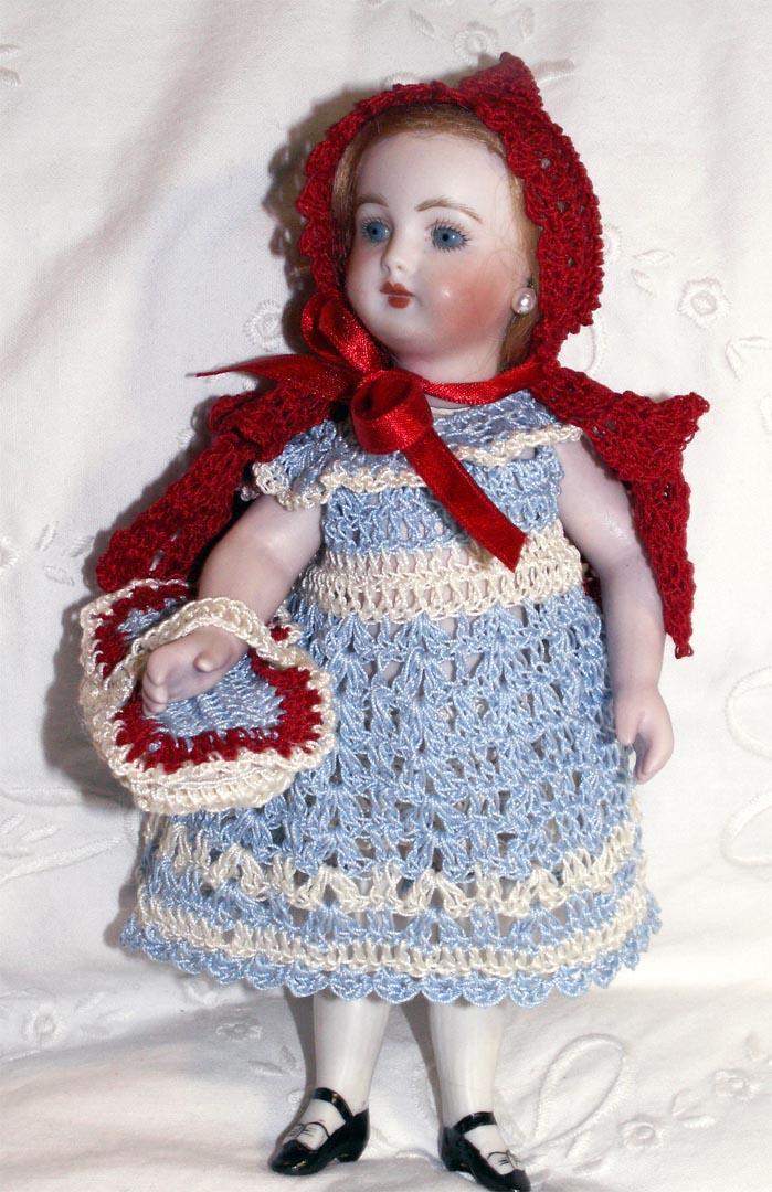 "Hand Crochet Doll Dress, Cape, Pants & Basket Red Riding Hood Set for 7-8"" Doll"