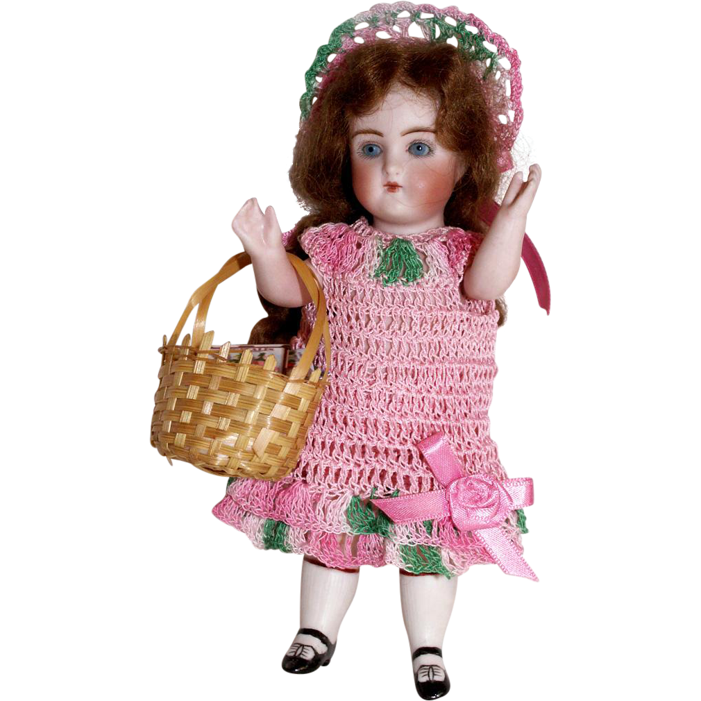"""Doll Dress Set Mary, Mary Quite Contrary Garden Seeds in Basket for Miniature All Bisque 5-6"""" Doll"""
