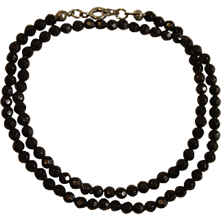 Double Strand Beaded Necklace with Faceted Black Beads Jewelry for 16-24 Inch Dolls