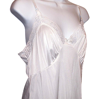 ADONNA Full White Dress Vintage Slip Nightgown Size 38 Nylon Exclusive of Lace