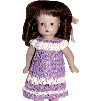 "Hand Crochet Lilac Dress for 7-8.5"" Doll Bisque"