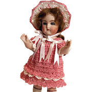 "Doll Dress, French Bonnet & Knickers Set for 5.5""-6"" Doll in Hand Crochet 3pc Doll Clothing"