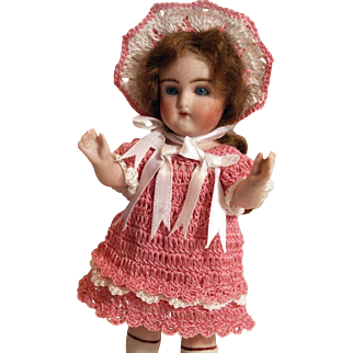 """Doll Dress, French Bonnet & Knickers Set for 5.5""""-6"""" Doll in Hand Crochet 3pc Doll Clothing"""