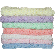 Afghan Blanket for Baby Doll Girls or Boys Hand Crocheted Pastel Colors