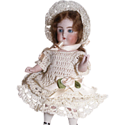 "Doll Dress, Bonnet & Knickers Set for 5.5""-6"" Doll in Hand Crochet 3pc Doll Clothing Cream Roses"