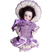 "Hand Crochet Doll Dress, Bonnet & Pants Set For 5"" Miniature All Bisque Mignonette Cabinet Doll"
