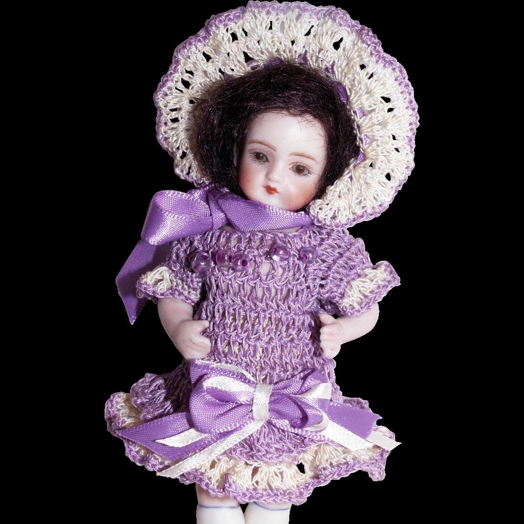 """Hand Crochet Doll Dress, Bonnet & Pants Set For 5"""" Miniature All Bisque Mignonette Cabinet Doll"""