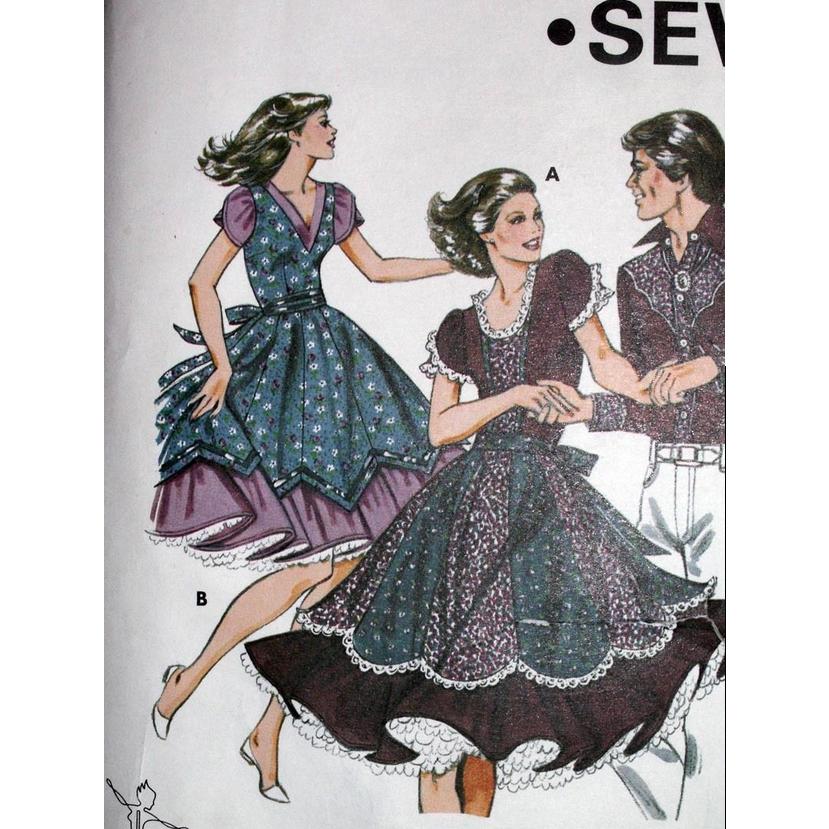 Square Dance Dress Pattern 6 8 10 12 Kwik Sew #1159 UNCUT Vintage 1980's Western Wear