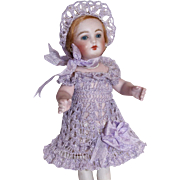"Lavender Dress, Bonnet & Pants Set for 7"" - 8.5"" Doll Bisque Mignonette Hand Crochet"