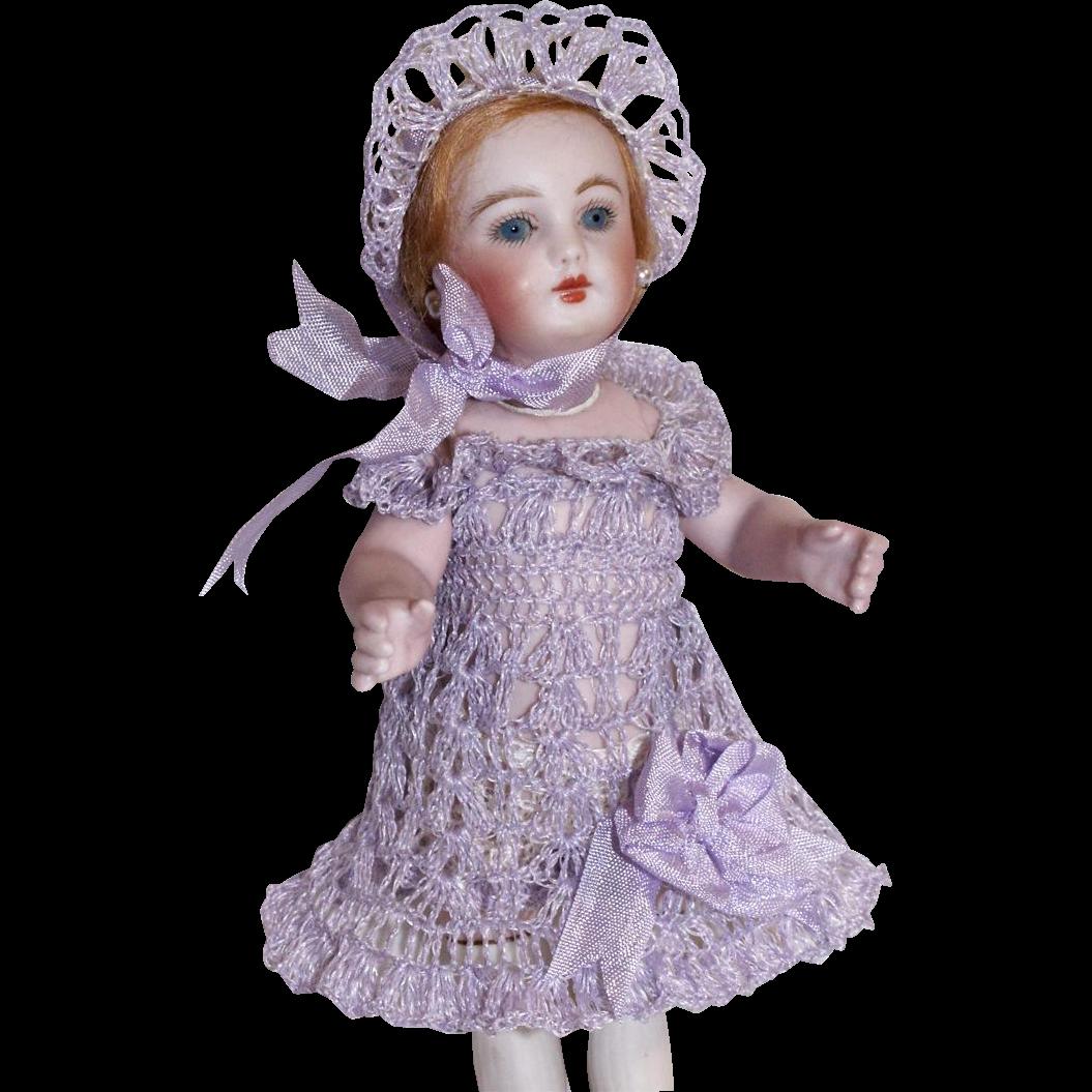 """Lavender Dress, Bonnet & Pants Set for 7"""" - 8.5"""" Doll Bisque Mignonette Hand Crochet"""