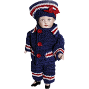 "Hand Crochet Nautical Doll Jacket Hat & Pants Set For 5"" Miniature All Bisque Boy Cabinet Doll"