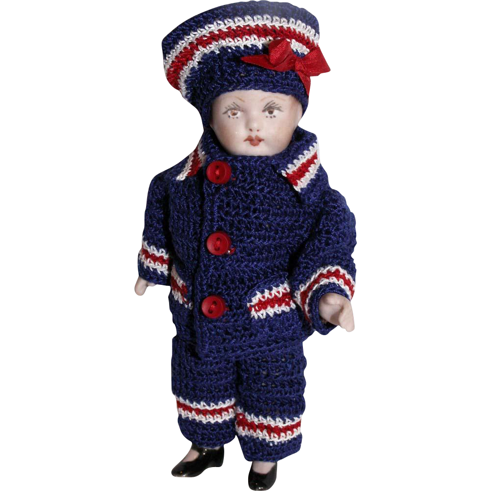 """Hand Crochet Nautical Doll Jacket Hat & Pants Set For 5"""" Miniature All Bisque Boy Cabinet Doll"""