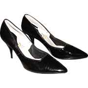 1950's Women's Shoes Enzel of Paris Stiletto Heels Vintage Black Patent Leather Pumps 8 AA