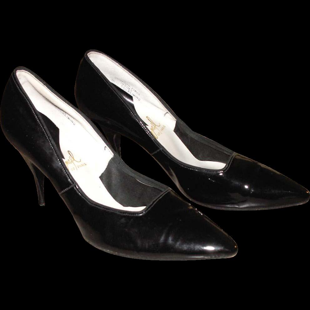 1950's Women's Shoes Enzel of Paris Stiletto Heels Vintage Black Patent Leather Pumps 8 AA