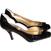 Women's Vintage Shoes Tahari RENE Black Patent Leather Size 8 M Open Toe Heel With Gold Vintage Pumps Heels