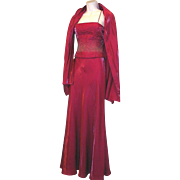 FAVIANA Beaded Gown with Shawl Fuchsia Small Long Formal Prom Evening Wedding Maxi 2 Piece