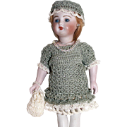 "Heirloom Crochet Doll Dress, Hat, Pants, Purse & Jewelry Set For 7""-7.5"" All Bisque Doll"