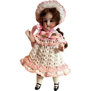 "Doll Dress, Bonnet & Knickers Set for 6"" All Bisque Doll in Hand Crochet 3pc Doll Clothing"