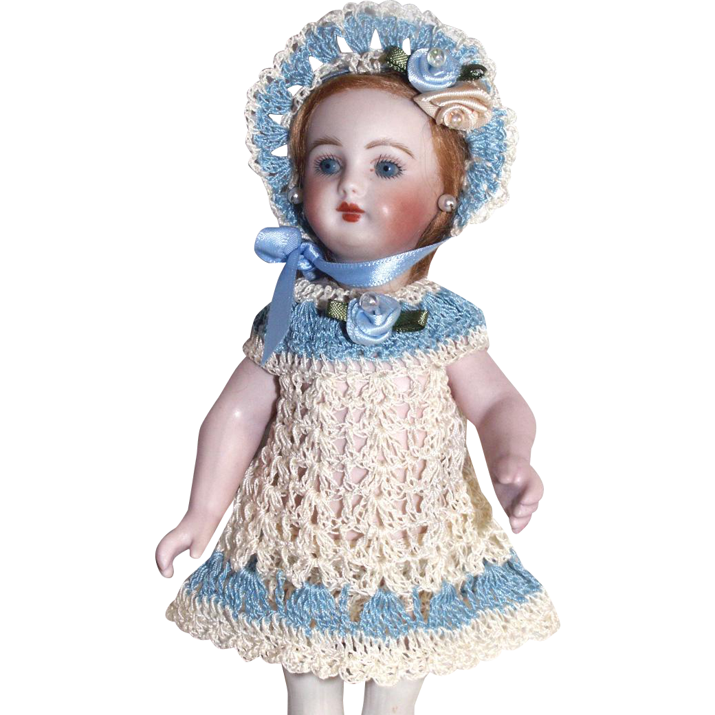 "Doll Dress, Bonnet & Knickers Set for 6-7"" All Bisque Doll in Hand Crochet 3pc Doll Clothing"