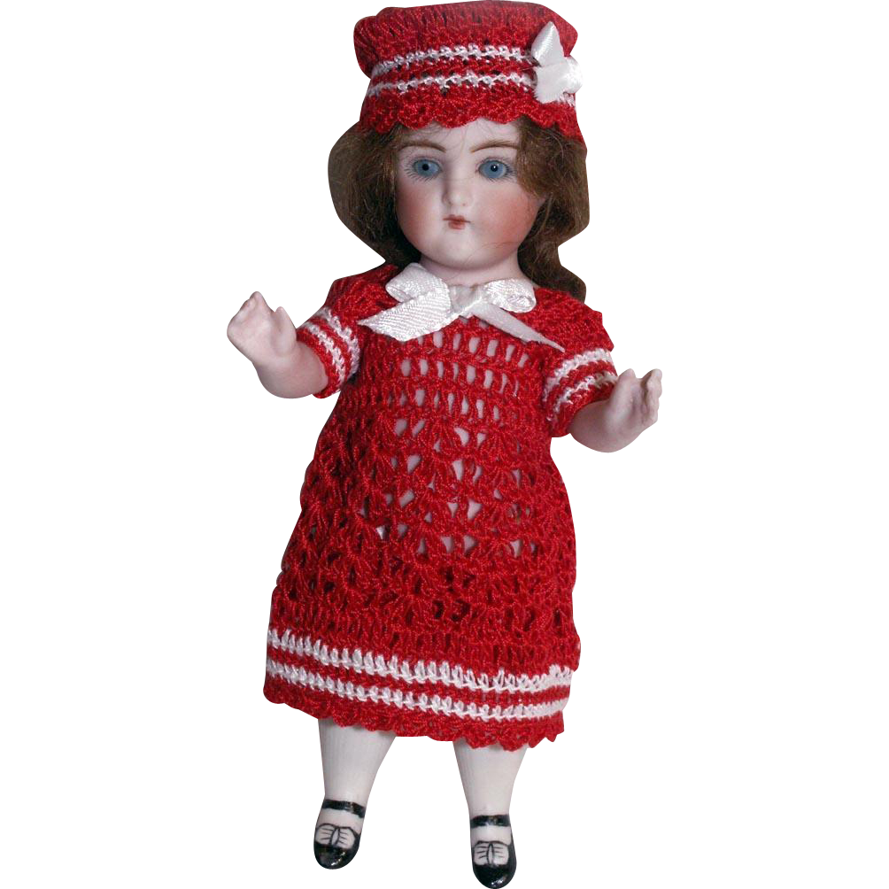 "Red Sailor Set for 5.5""-6"" Doll All Bisque Miniature Mignonette Dress Knickers & Hat in Hand Crochet"