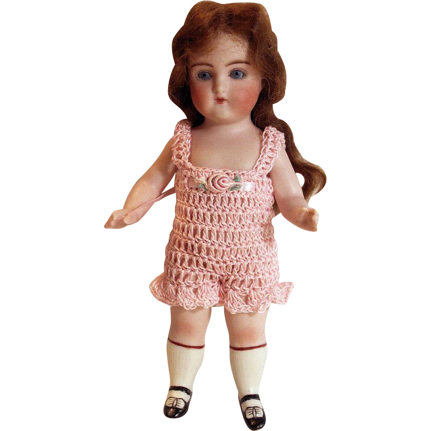 "CHEMISE LINGERIE / SUNSUIT 1pc Pants for 4-8"" Doll All Bisque Miniature Mignonette Wrestler Doll"