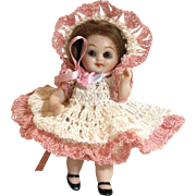 """Doll Dress Pants & Bonnet for 3"""" - 3.5"""" All Bisque Miniature Doll House Baby Crochet"""