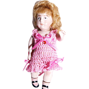 "CHEMISE PANTALETTE 1pc for 3-3.5"" Doll Bisque Miniature Mignonette Crochet in Rose Pink"