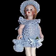 "Heirloom Crochet Dress, Purse, Hat Set for Miniature All Bisque 7-8"" Mignonette Doll"