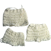 "3 Pair Doll Crochet Panties for 4-8"" Miniature Mignonette All Bisque Cabinet Dolls"