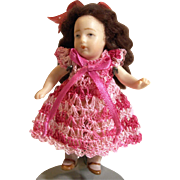 "Doll Dress for 3-4"" All Bisque Miniature Mignonette Dollhouse Doll in Rose Pink Hand Crochet"