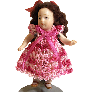 """Doll Dress for 3-4"""" All Bisque Miniature Mignonette Dollhouse Doll in Rose Pink Hand Crochet"""