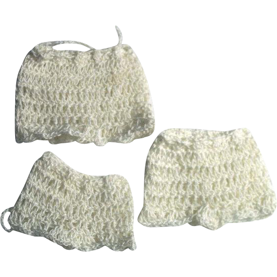"3 Pair Doll Crochet Panties for 4-8"" Miniature Mignonette All Bisque Cabinet Dolls, Natural/Antique White"